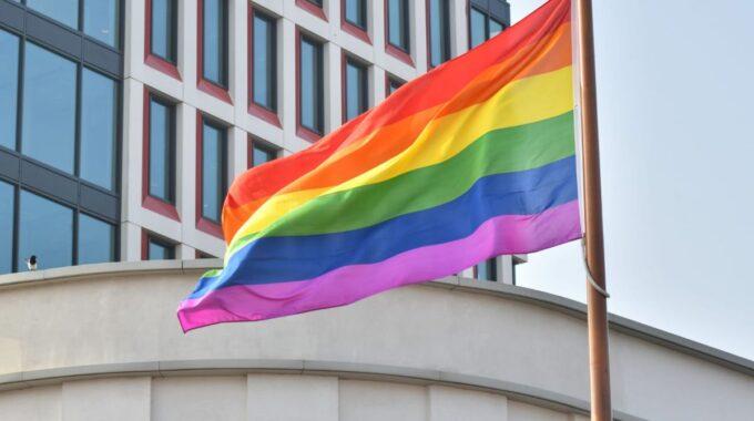Regenboogvlag in top bij stadhuis Almelo