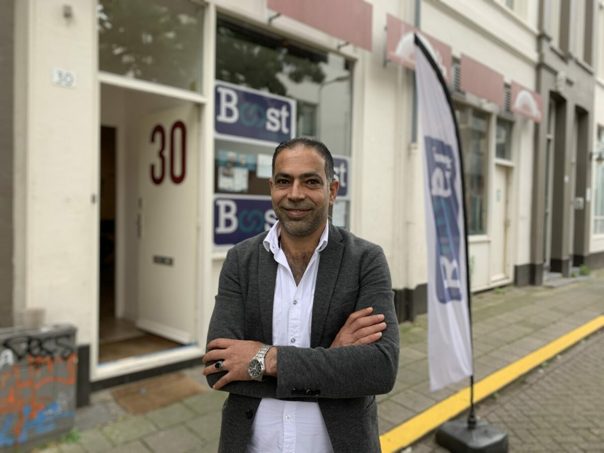 Mohammed Obeido voor 'zijn' Boost. Foto: indebuurt Arnhem