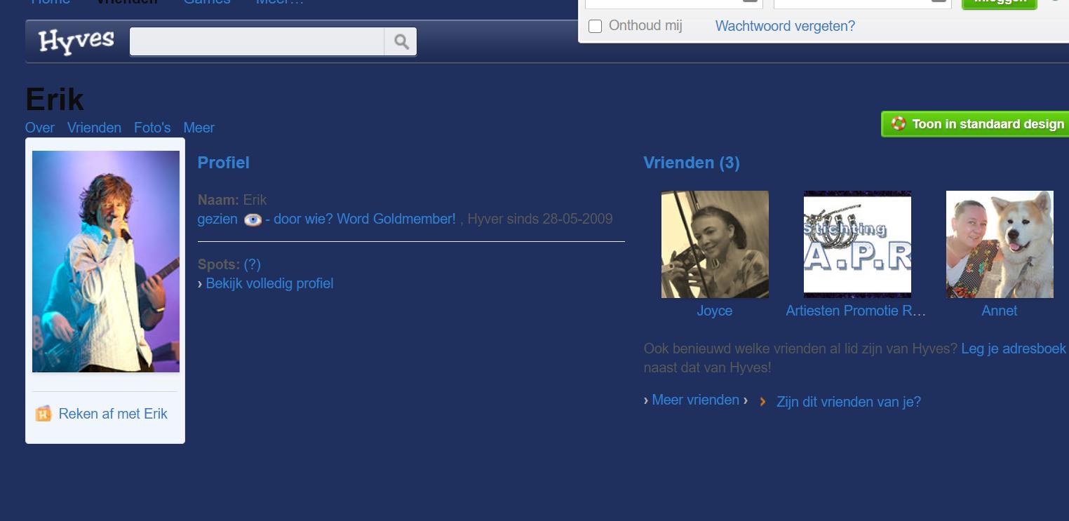 Screenshot Web Archives/ Hyves erik mesie