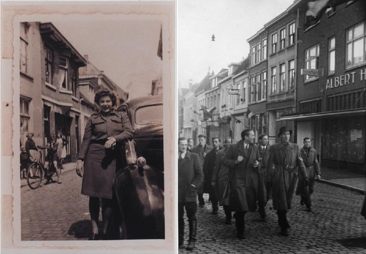 Na de bevrijding van West-Brabant en Bergen op Zoom op 27 oktober 1944 marcheert een detachement van de ondergrondse verzetsbeweging door de Zuivelstraat de Grote Markt op. bergen op zoom 1940 Bergen op Zoom: Bij de bevrijding van Bergen op Zoom op 27 oktober 1944 was er in de Penstraat een vrouwelijke militair bereid te poseren.