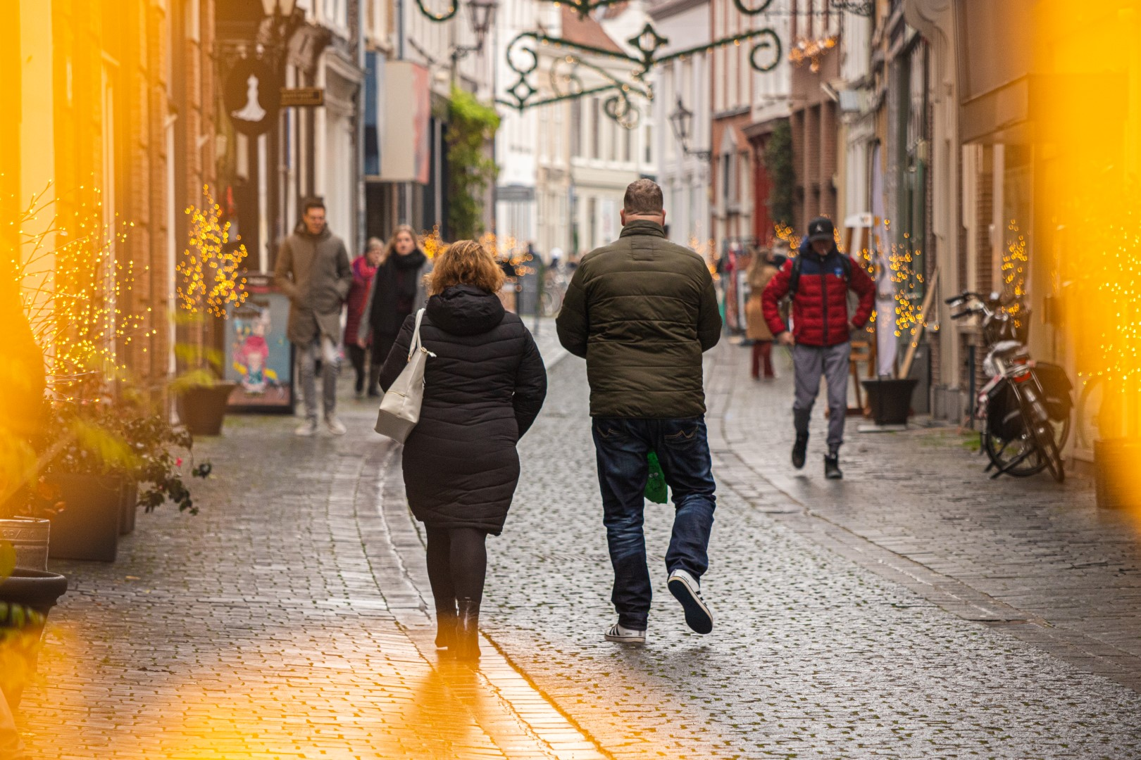 vierkantje winkelen winkelende mensen drukte shoppen winkelstraat december winter