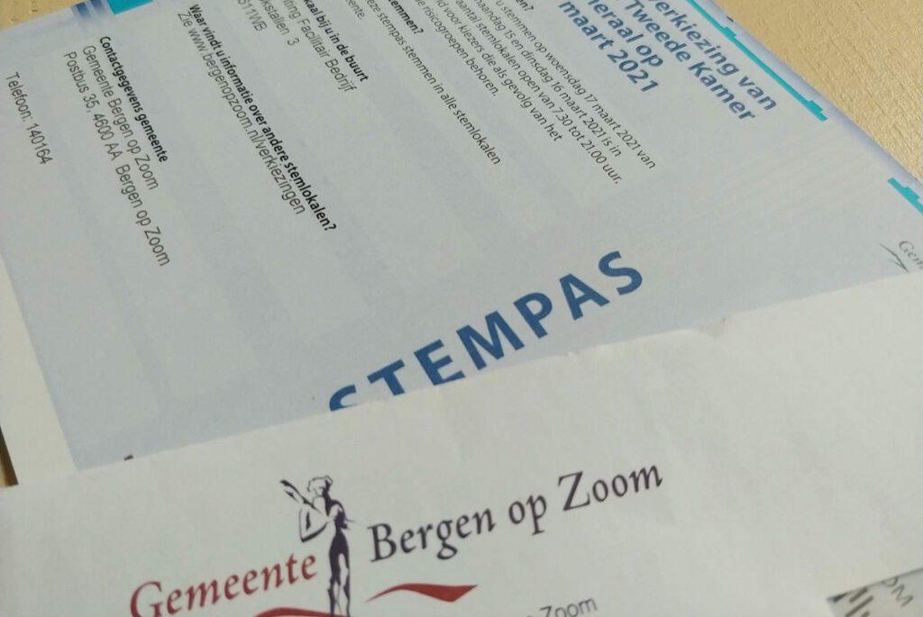 Stempas Bergen op Zoom Verkiezingen 2021 Tweede Kamer