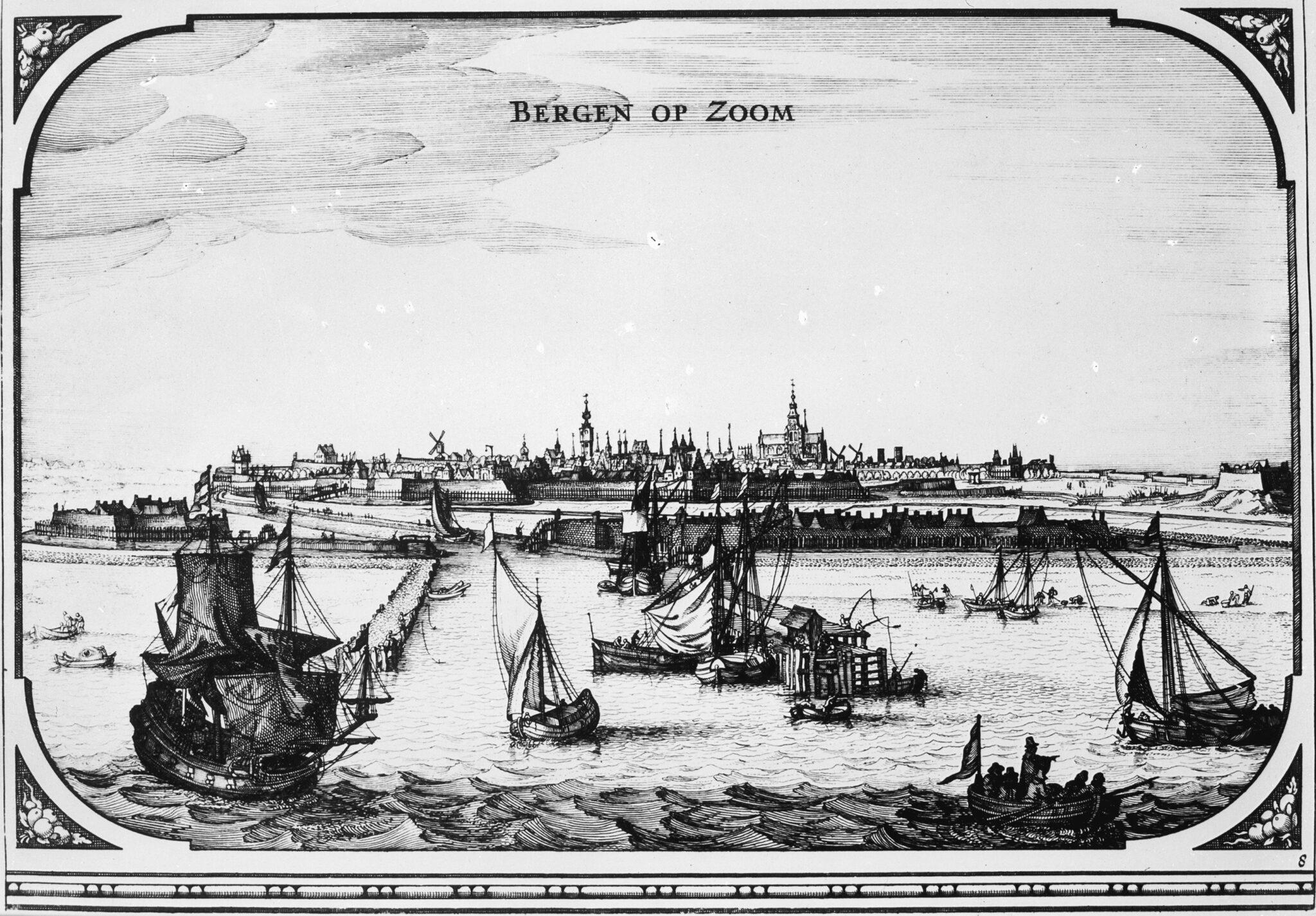 Detail van de Roman-Visscherkaart met het stadsgezicht op Bergen op Zoom boten schepen water boot vroeger bergen op zoom schip stadsaanzicht stadsgezicht verdronken land Markiezaat Bergen op Zoom