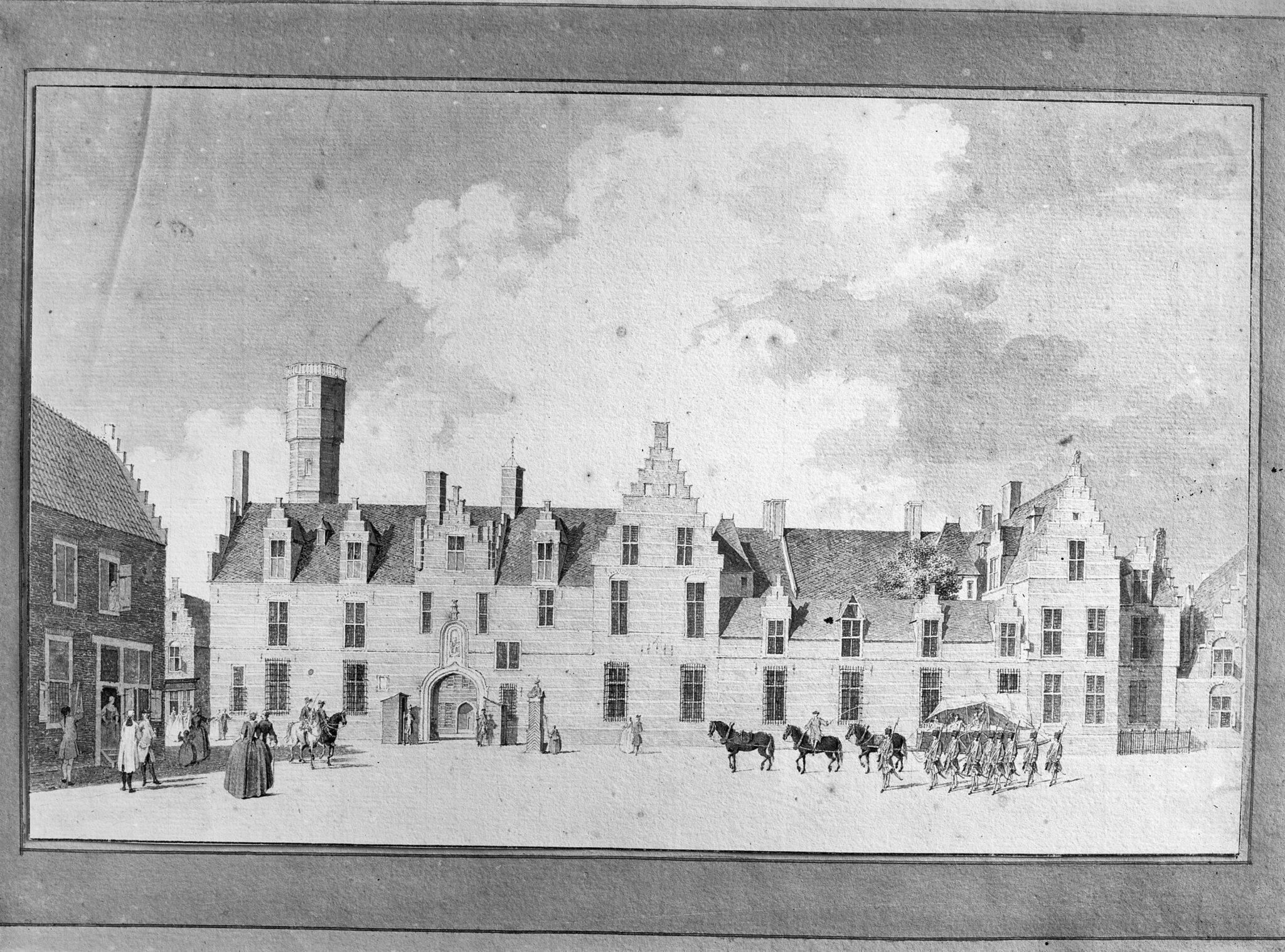 """'t Hof van de Prins van Sutzbach, gew.zijnde 't Gouvernement Cronstrom"""". 18e eeuwse markiezenhof beursplein"""