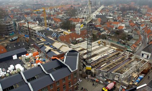 Bergen op Zoom: Nieuwbouw Sint-Josephstraat, Voetboog, Sint-Josephplein (gezien vanuit Lucernaflat)