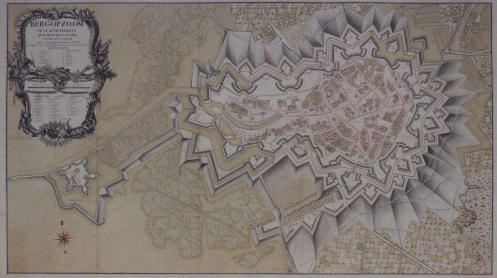 Kaart van de vesting Bergen op Zoom na 1703. prent vesting vestingswerk verdediging verdedigingswerk bergen op zoom