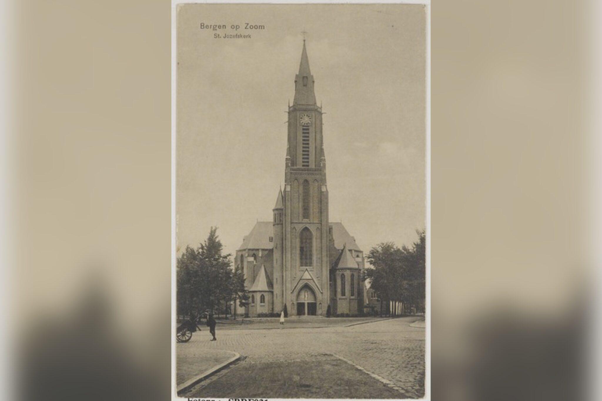 Sint Josephkerk Bergen op Zoom Bergen op Zoom: Bredasestraat; St. Josephkerk (1913) - 'de Joorenkerk' - gezien vanuit de Wassenaarstraat in noordelijke richting.