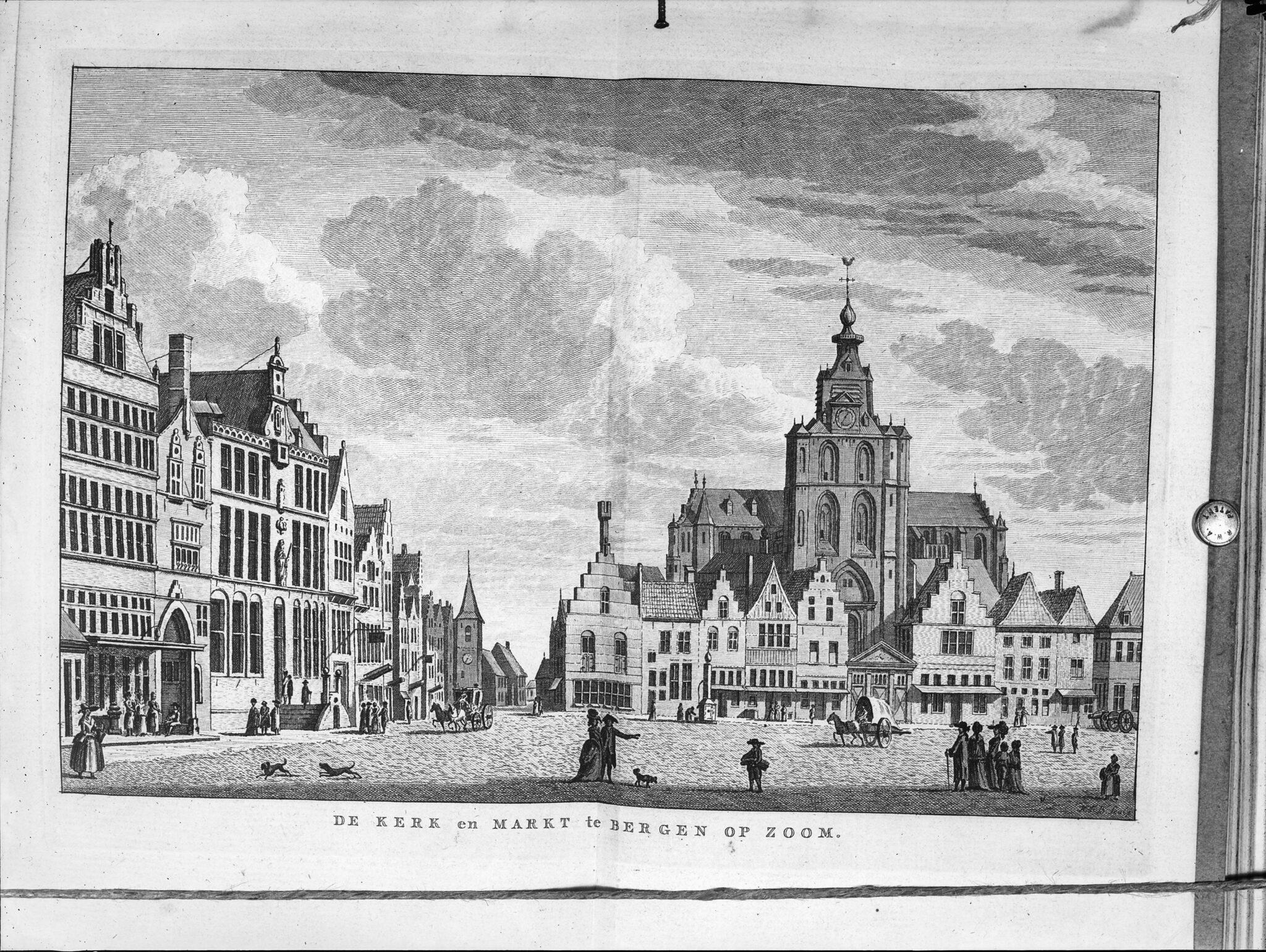 Overzicht van de Grote Markt, met de Hervormde kerk en het stadhuis. 'De Kerk en Markt te Bergen op Zoom' peperbus sint gertrudiskerk