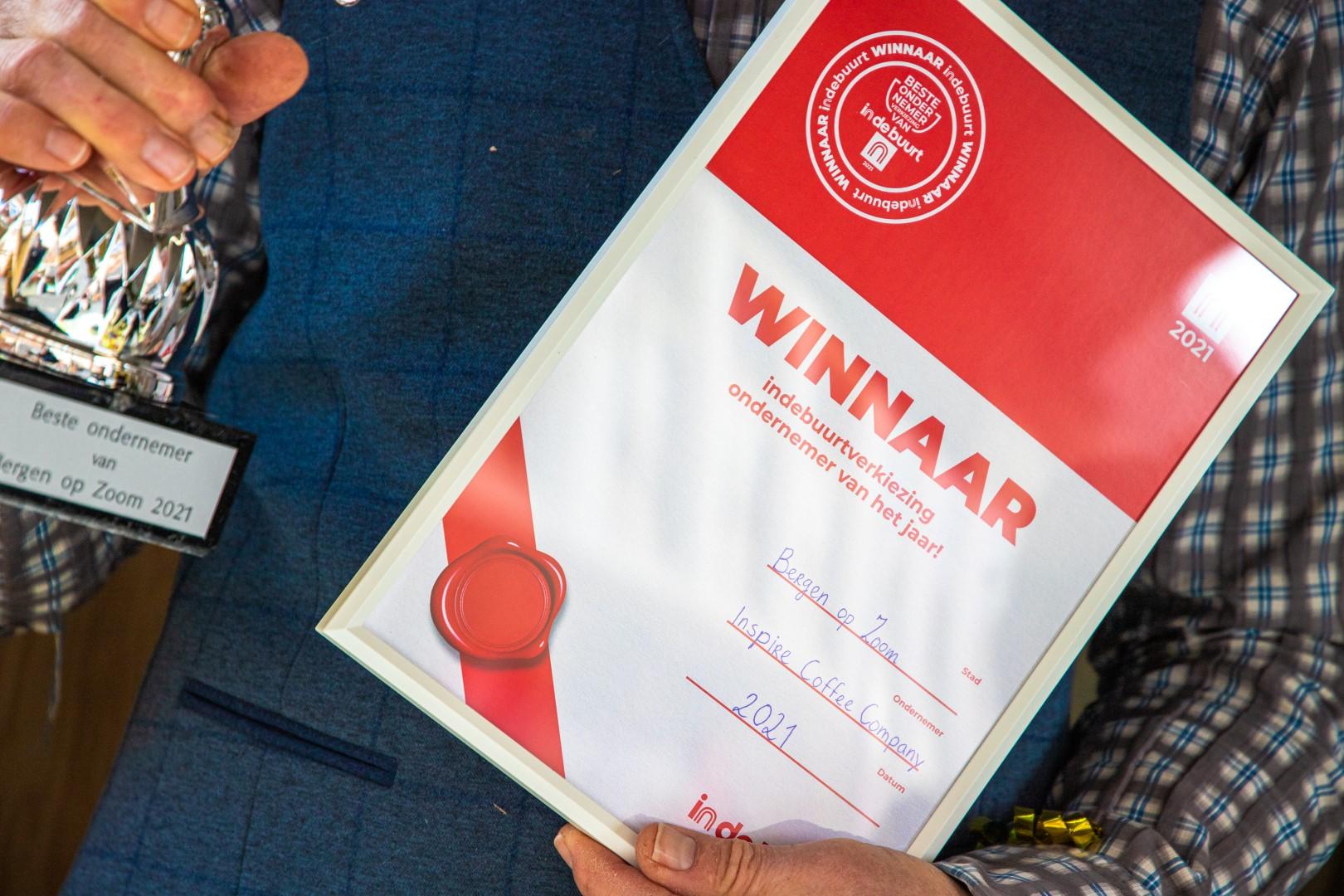 inspire coffee company winnaar indebuurt verkiezing ondernemer van het jaar 2021