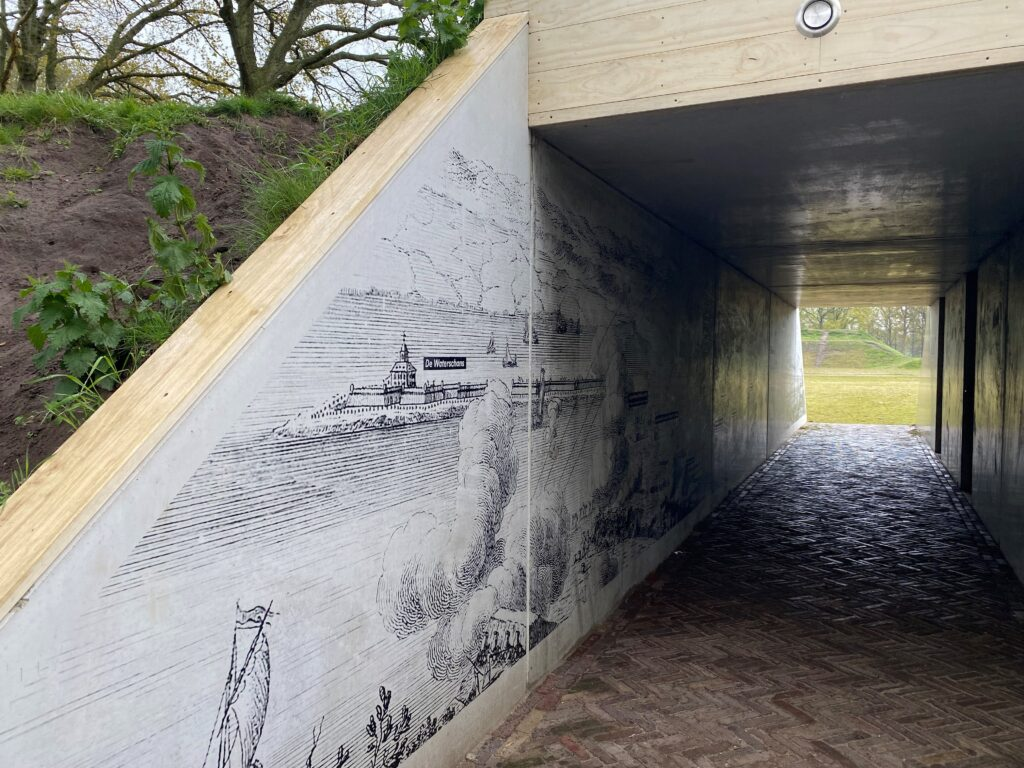 De zeefdrukgravure bij Fort de Roovere