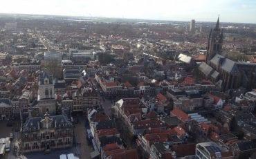 Delft luchtfoto Oude Kerk