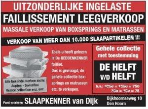 faillissementsverkoop bedden Den Hoorn