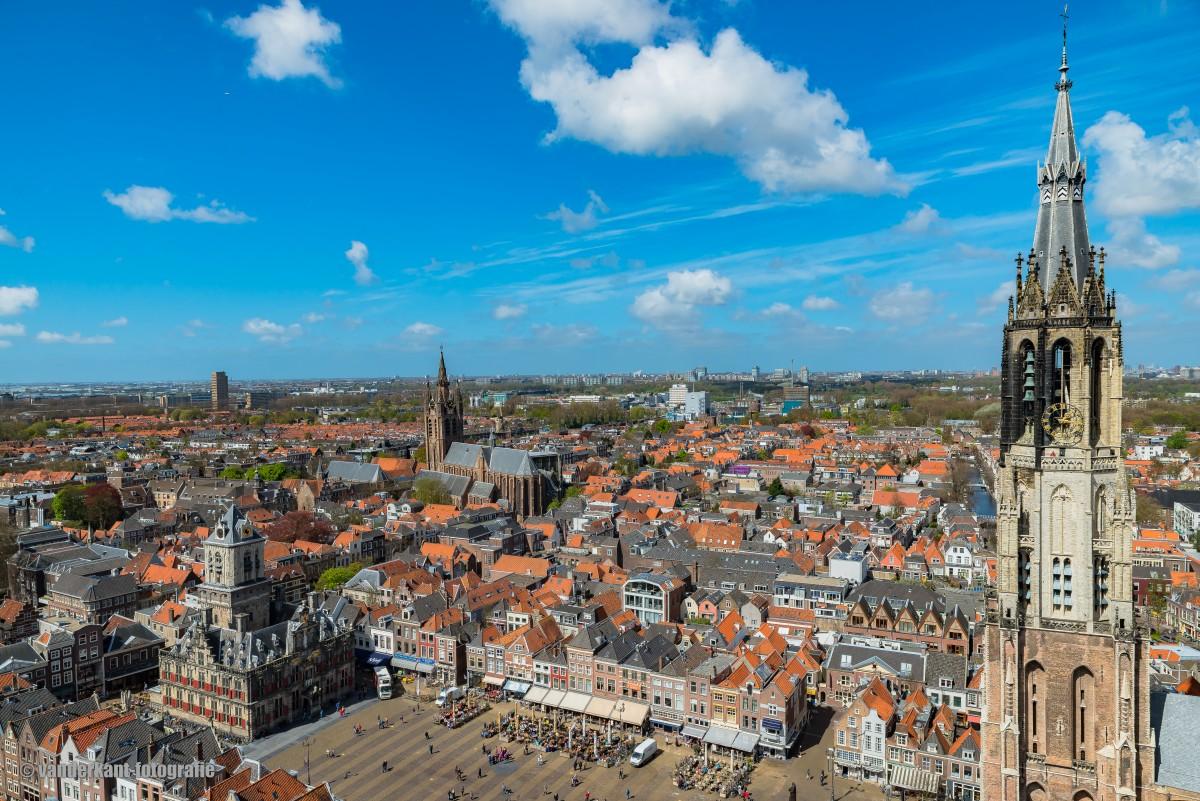 Maria van Jessekerk Delft vanuit de lucht vanderkant-fotografie binnenstad