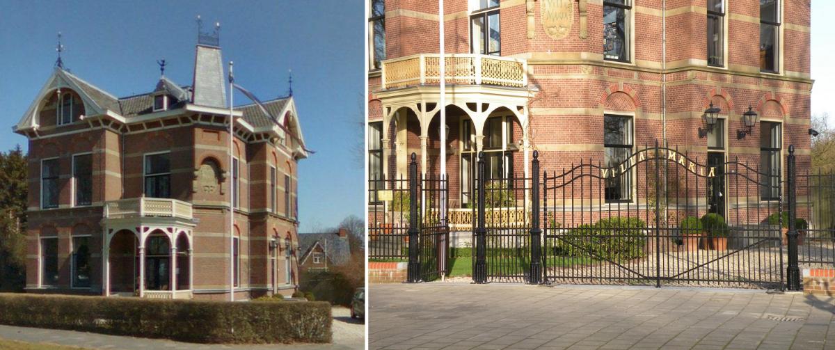 Villa Maria voor (links) en na (rechts) Foto: Historische Vereniging Delfia Batavorum