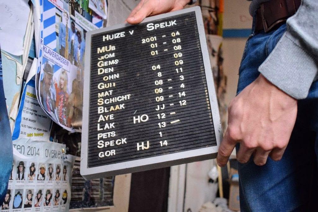 Een overzicht van alle mensen die in Huize van Speijk hebben gewoond van 2004 tot nu; de bewoners worden genoemd bij hun huisnaam.