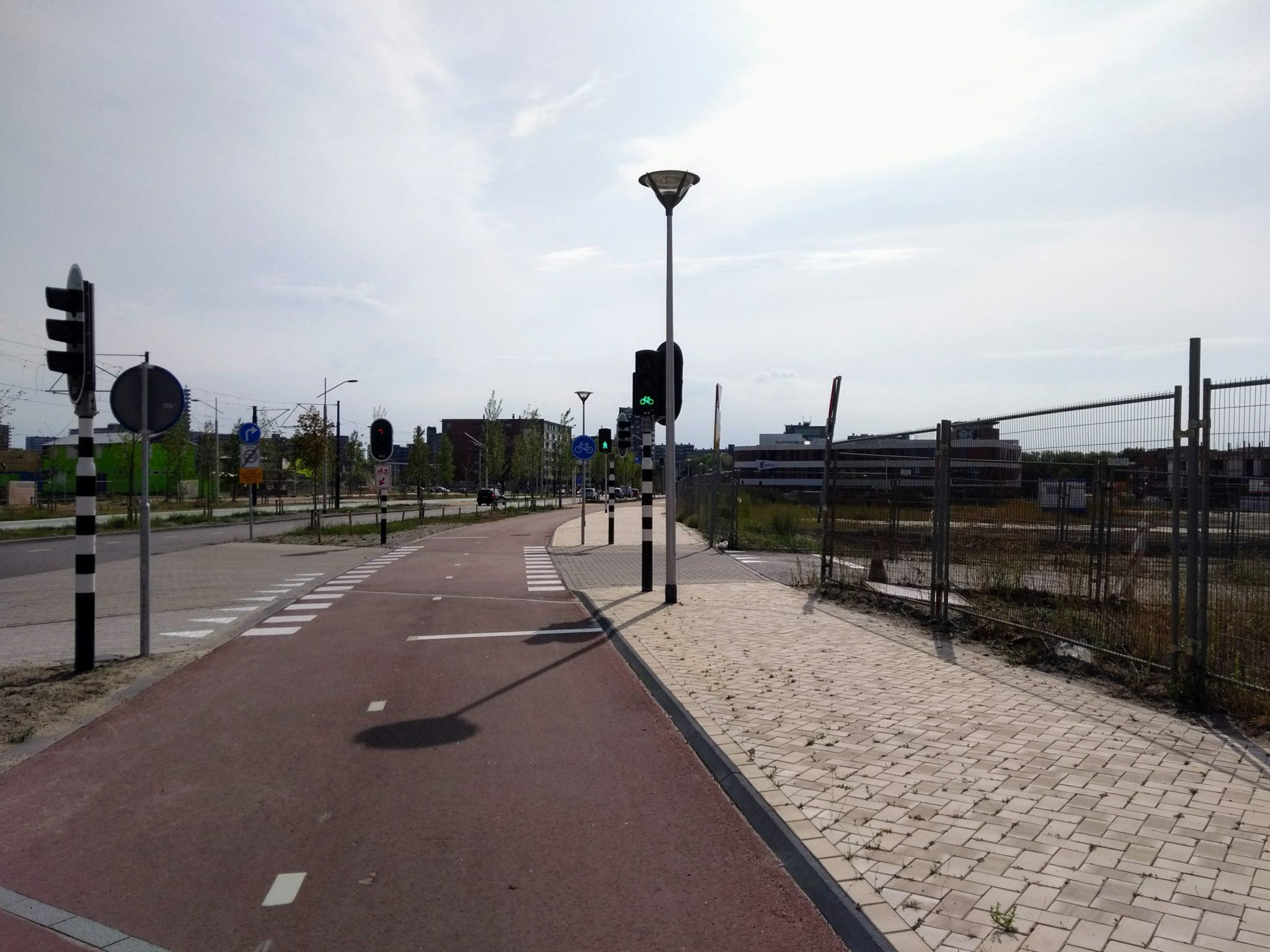 fietspad ireneboulevard spoorzone stoplicht verkeerslicht