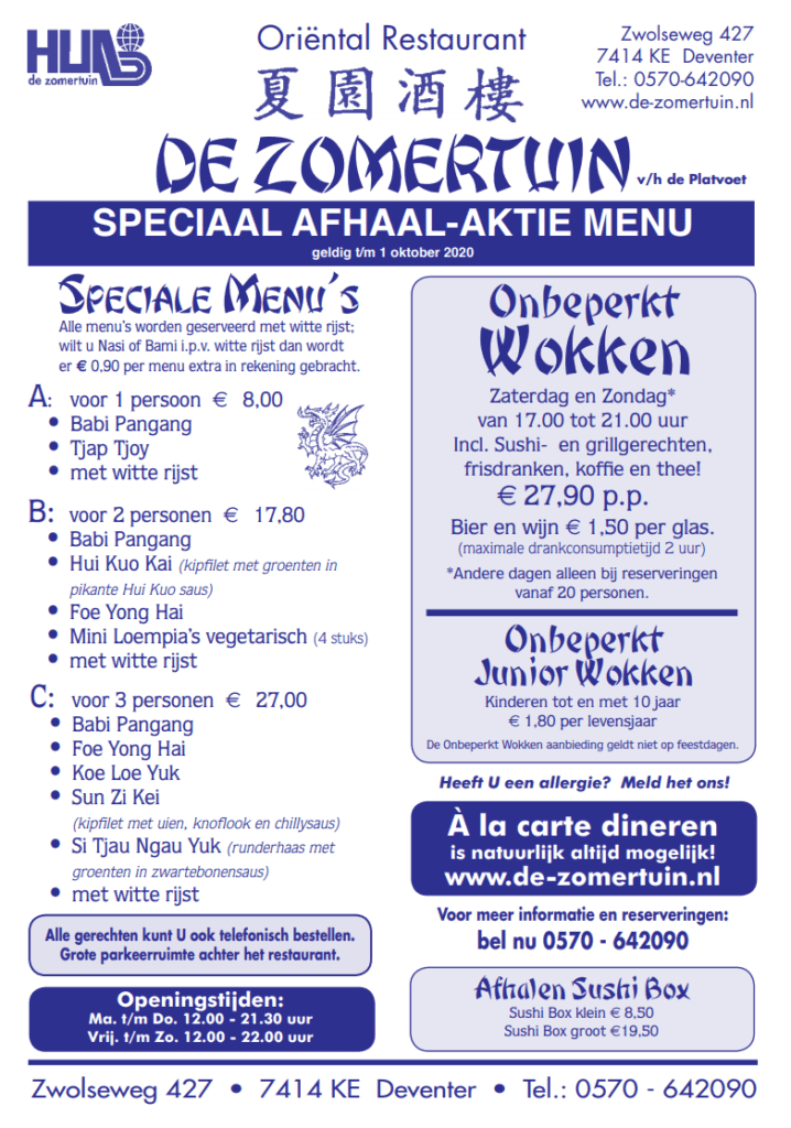 afhaal menu Deventer