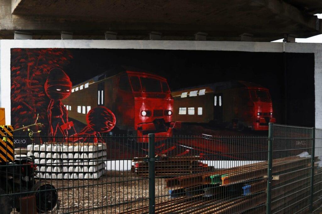 Grafitti Zwijndrechtse brug Dordrecht rood trein