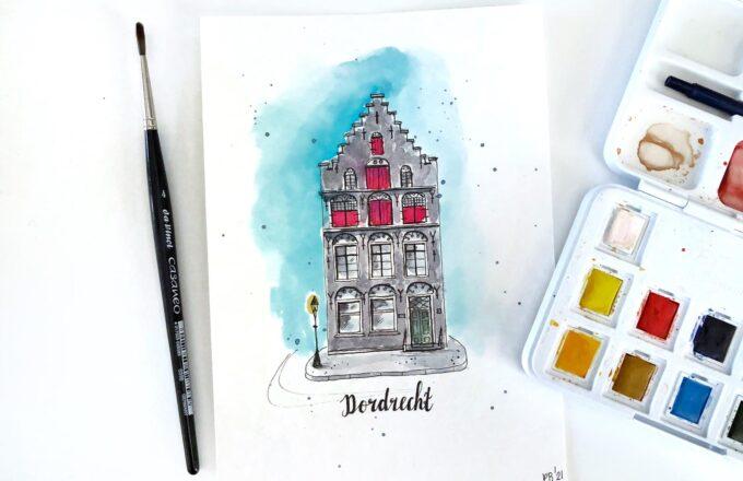 Posters schilderijen Dordrecht muurversiering Dordts - Dordtse Huisjes
