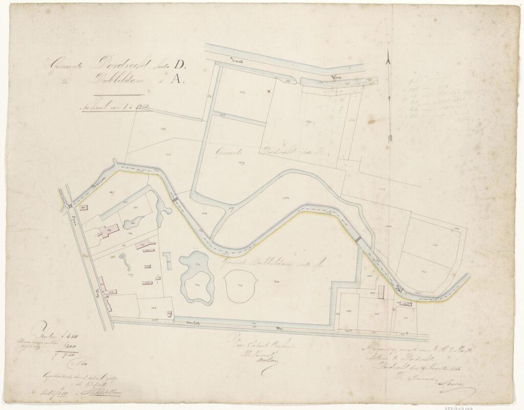 Kadastrale kaart Villa Weizgt landgoed landhuis Dordrecht