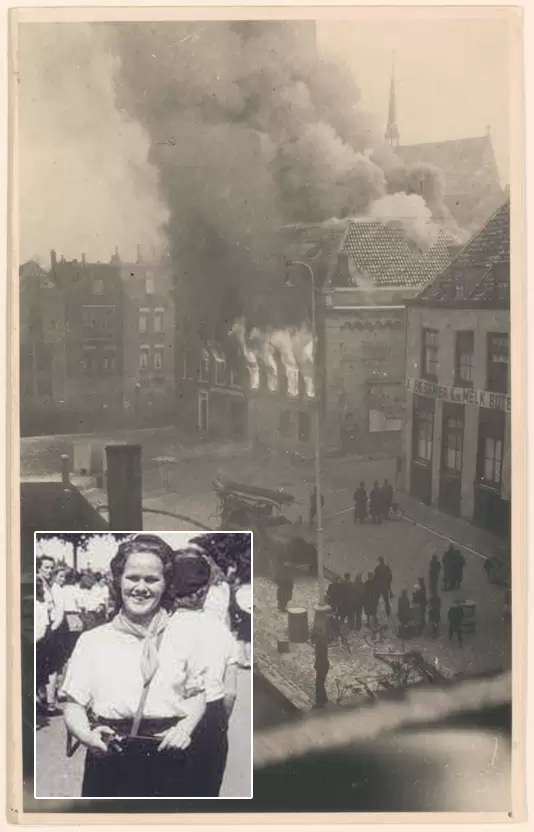 Lenie Dicke verzetsstrijder Binnenlandse Strijdkrachten BS Dordrecht afgebrandde Huis Prinsenstraat