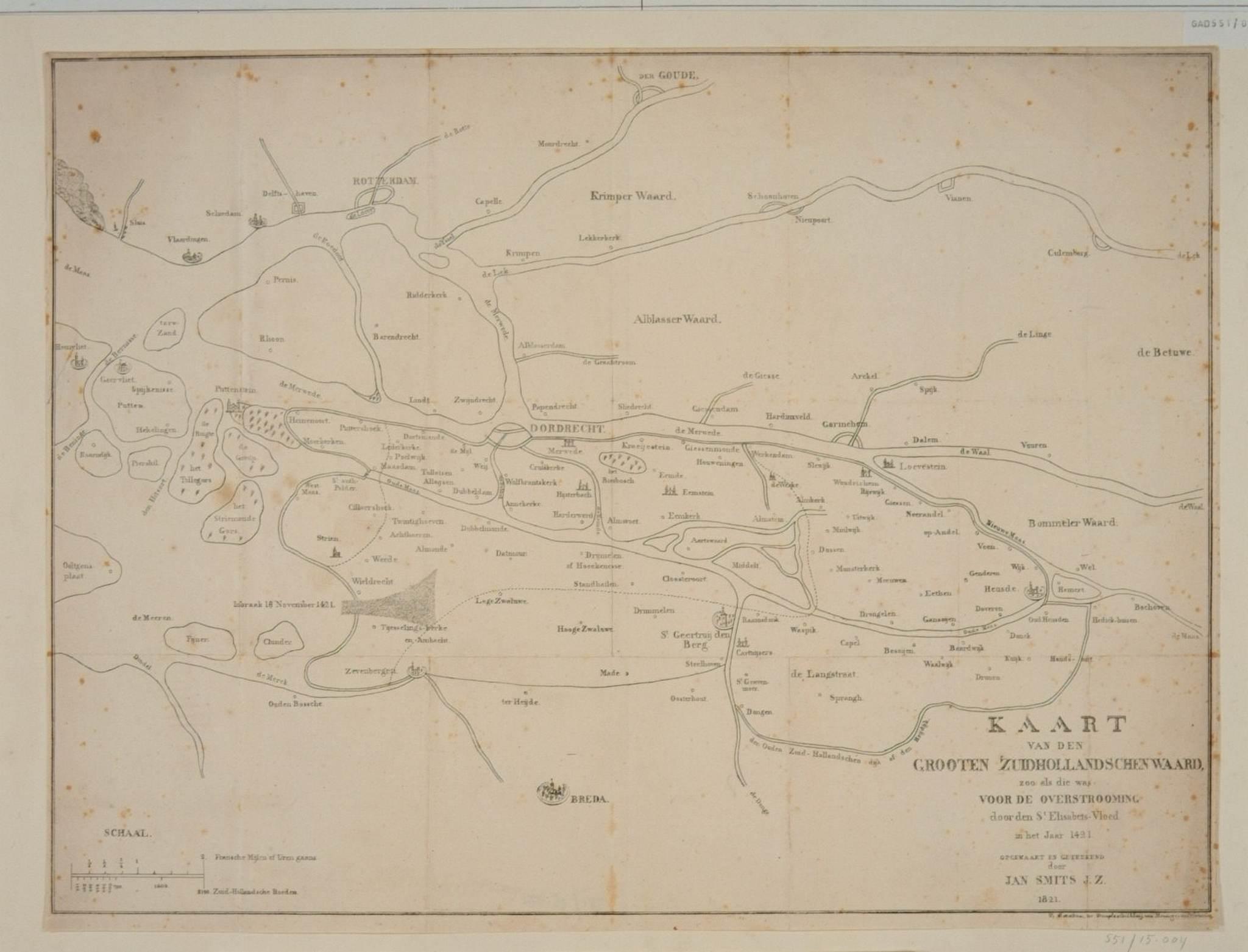 Kaart voor Sint Elisabethsvloed 2