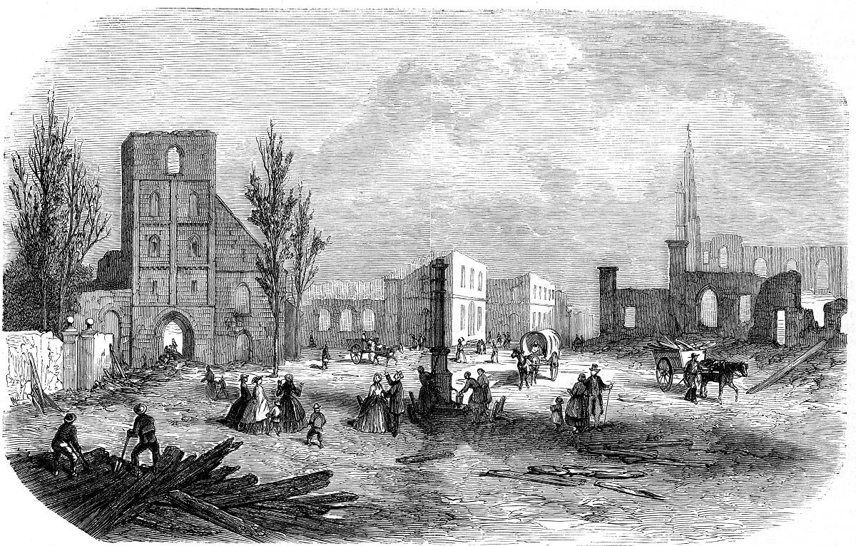 Tekening stadsbrand 1862Enschede