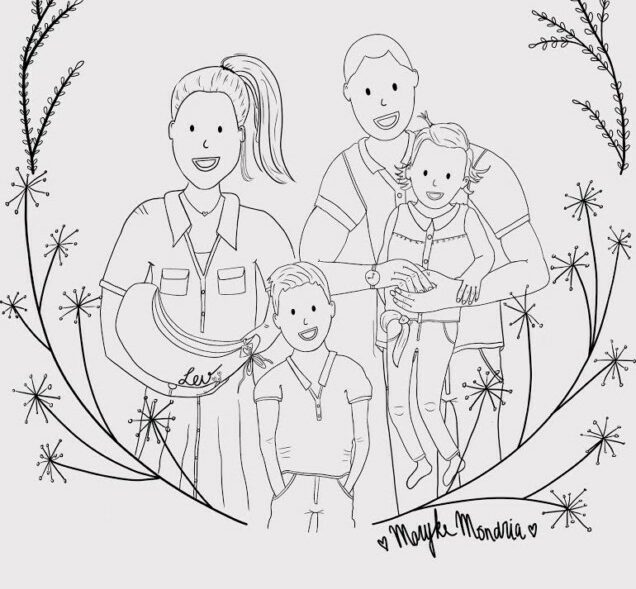 Familieportret Maryke Mondria kleurplaat