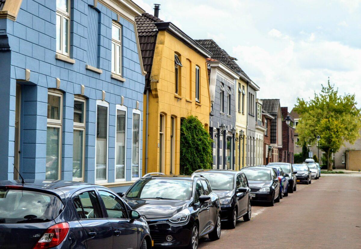 Parkstraat Enschede gekleurde huisjes