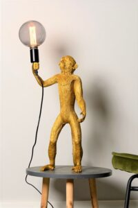 Monkey tafellamp staand goud