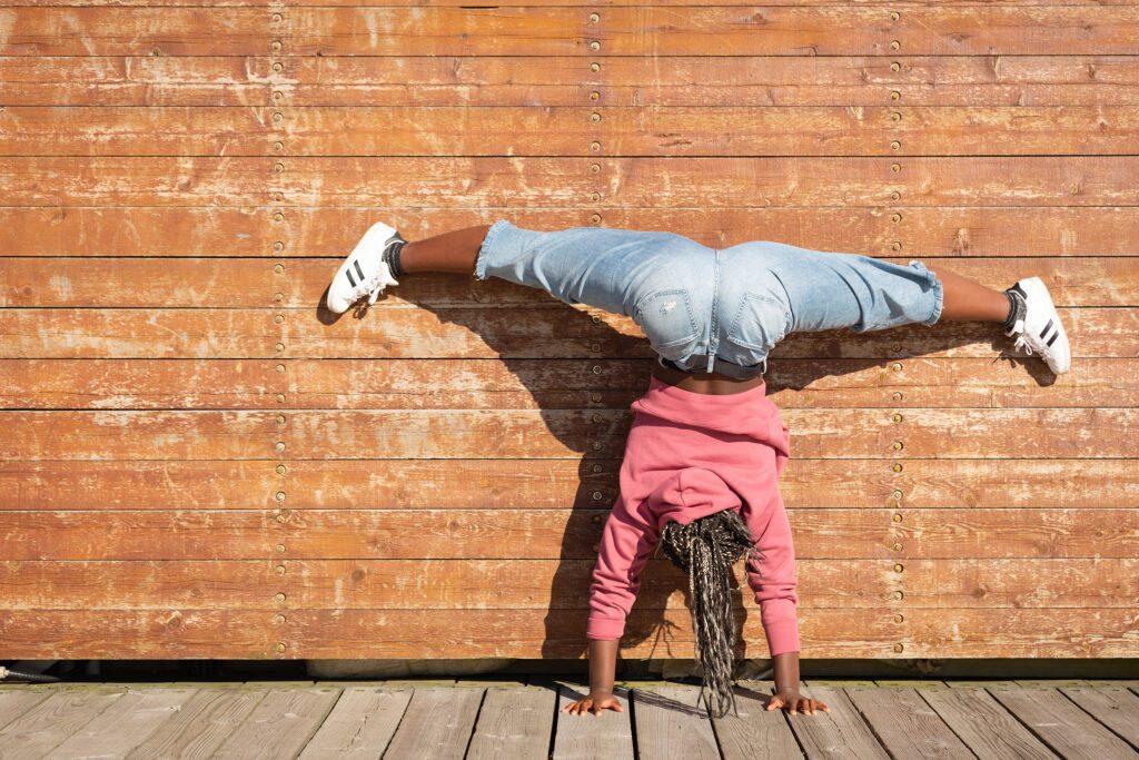 Gymnast practicing handstand