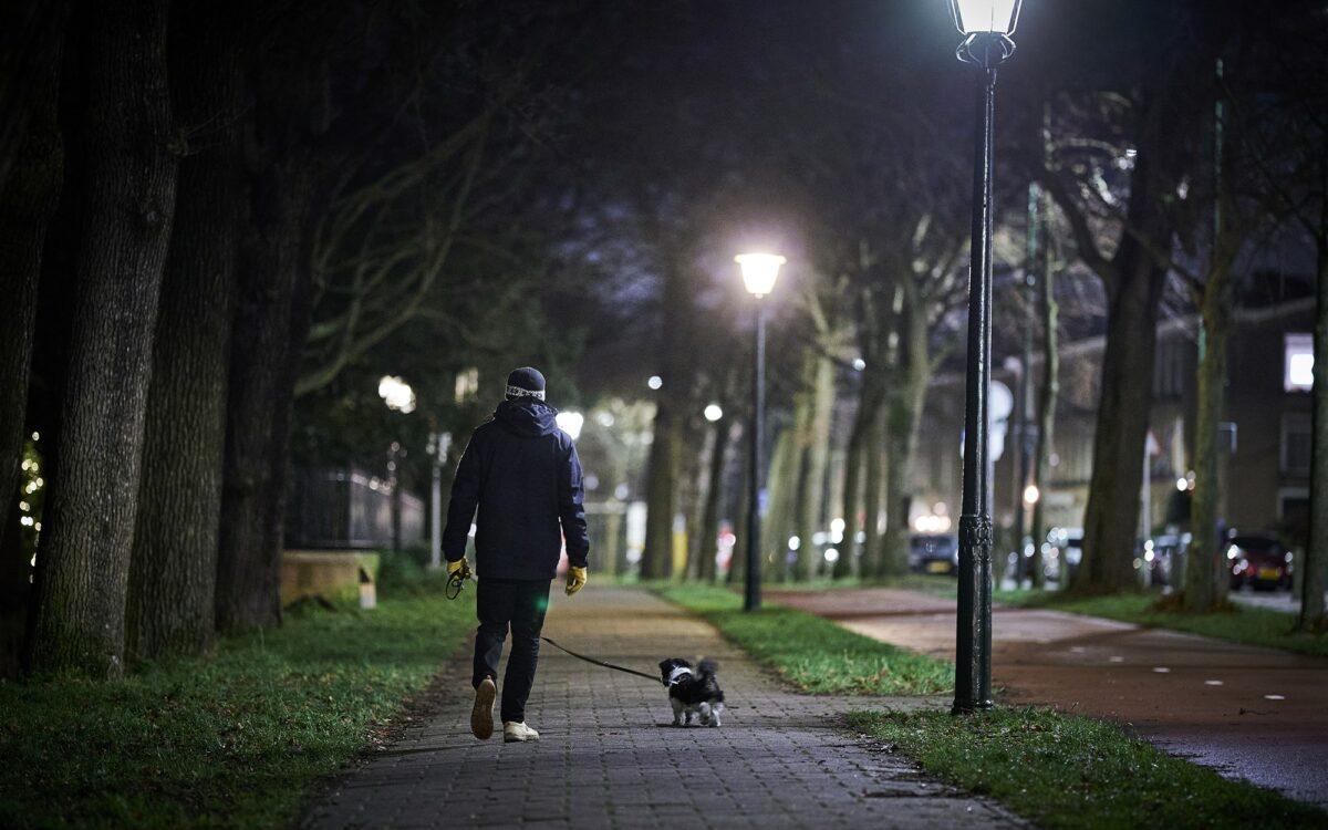 hond aangelijnd avondklok