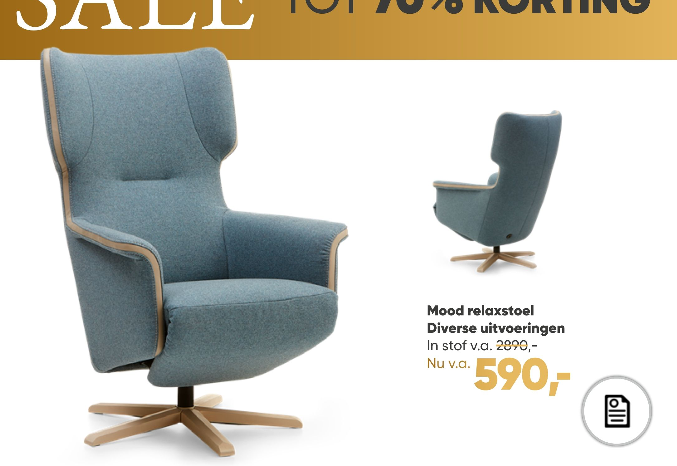 Mood relaxstoel Diverse uitvoeringen van € 2.890 voor € 590