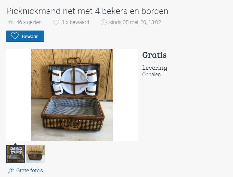 Marktplaats Leiden, picknickmand