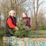 Willy Wiersma en Marion Dirksen bij het kerstbomenhotel in Harderwijk. Foto indebuurt Randmeren