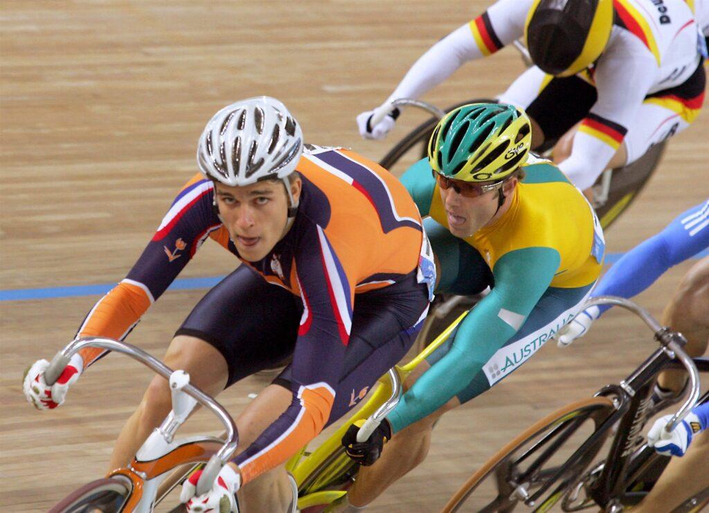 Theo Bos op de Olympische Spelen in 2004, Athene. Hierden