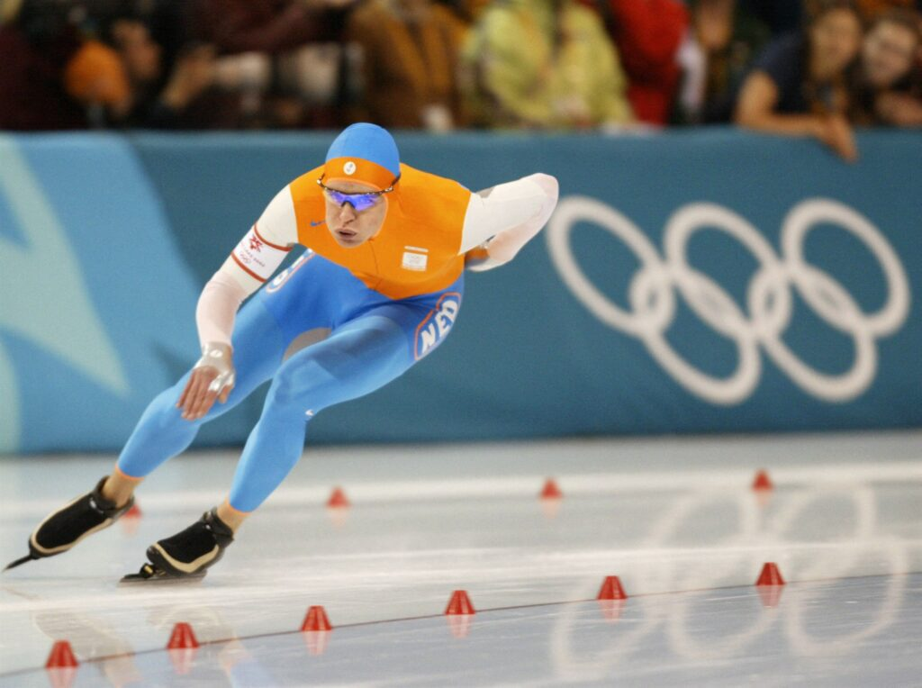 Hierdenaar Jan Bos tijdens zijn Olympische Spelen in Salt Lake City 2002.