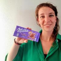 Anka / Annelize met de nieuwe chocoladesmaak 'Onze koffie date'. Milka harderwijkse zwolle