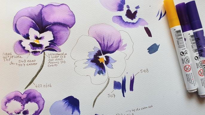 Online cursus tekenen korting Rotterdampas viooltjes tekenen klaprozen tekenen