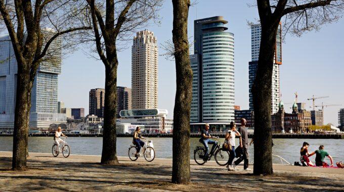 scheepvaartkwartier kop van zuid skyline lente fietsen wandelen
