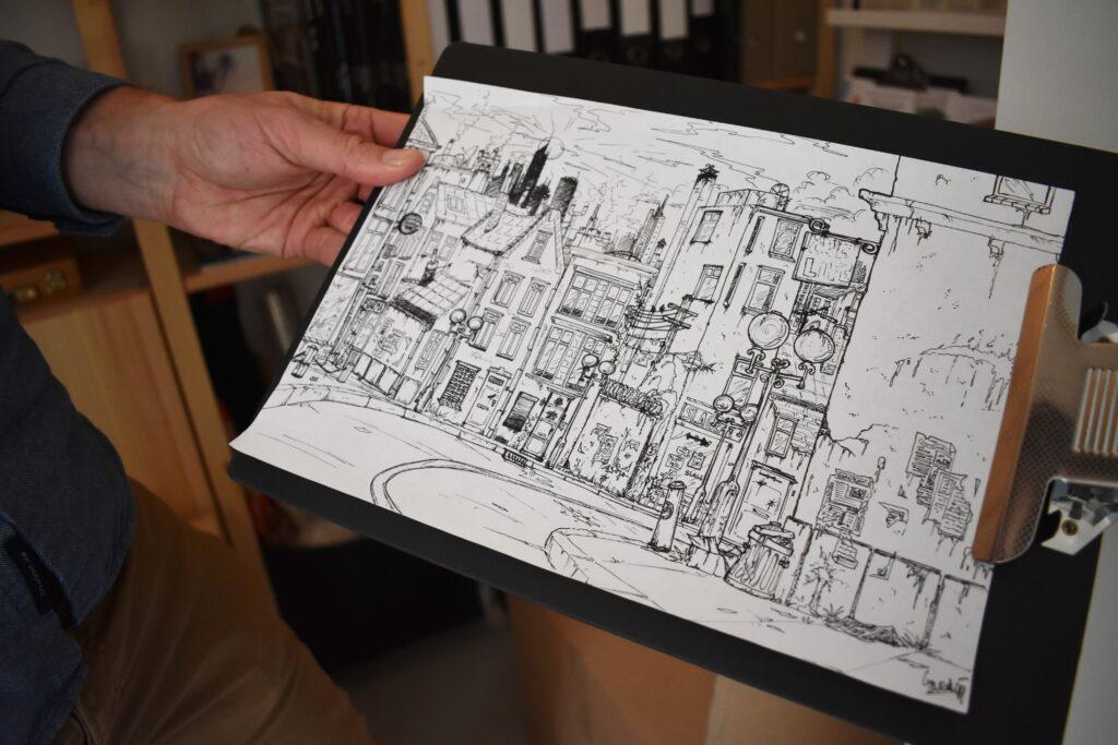 Govert van der Heijden tekening fantasiestad