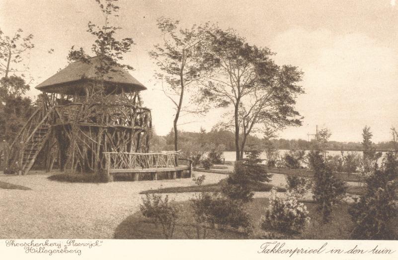 Het takkenprieel in de tuin van theeschenkerij Plaswijck in Hillegersberg - stadsarchief rotterdam 1917
