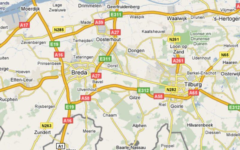 Kaart Breda en Tilburg