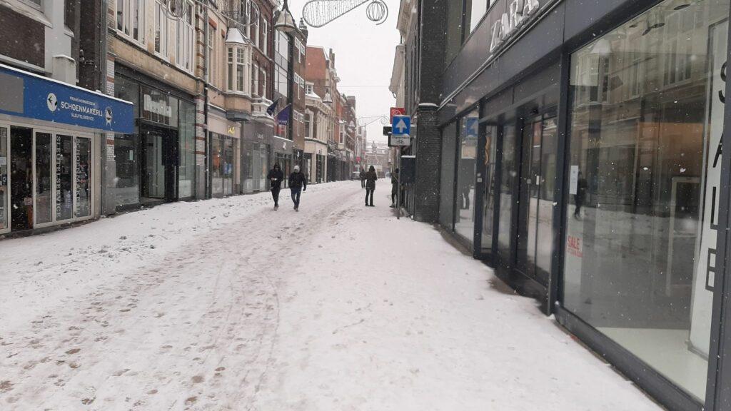 binnenstad sneeuwstorm