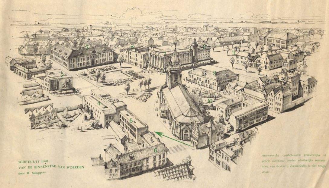 Schets Kerkplein 1968